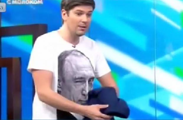 Есть вопросы? Даниил Грачев появился в эфире НТВ в футболке с изображением Путина